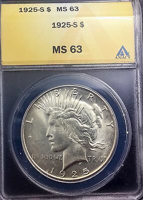 1925 S SAN FRANCISCO SEMI KEY PEACE  DOLLAR PLEASING ANACS  GRADED  MS63