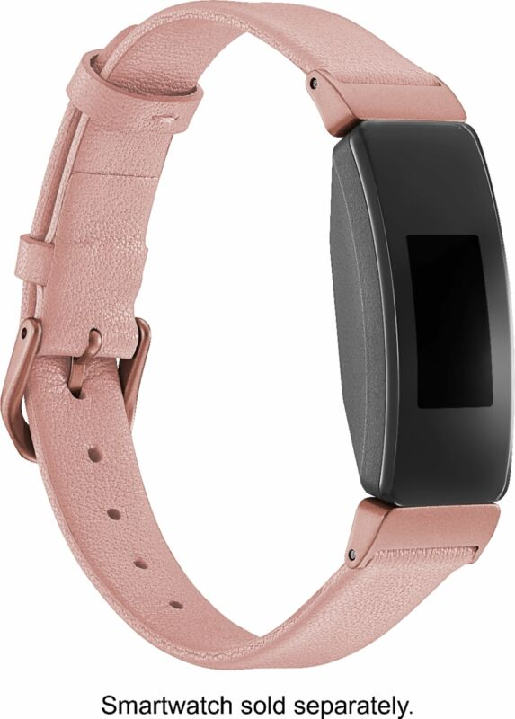 Platinum- Leather Band for Fitbit Inspire and Inspire HR - Pink