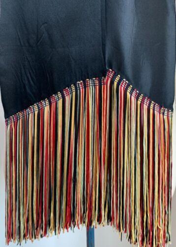 """antique 30s? v long black satin scarf w multicolor fringe 7"""" long, wear as sash?"""