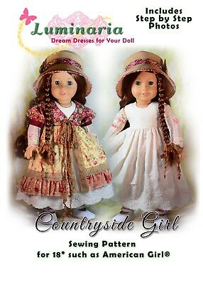 "Dress Pattern With Hat. Fits 18"" American Girl, Tonner My Imagination Dolls"