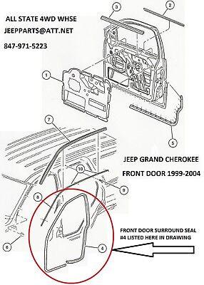 Drivers Side Door Seal (NEW LEFT DRIVERS SIDE FRONT DOOR SEAL 1999-2004 JEEP GRAND CHEROKEE WJ  )