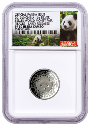 2017 China Berlin World Fair Panda Piedfort Concave Silver NGC PF70 ER