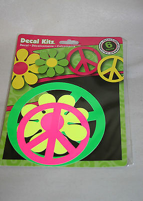 CHROMA Set of 6 Auto Decal Stickers Groovy Neon Hippie Peace Signs Flowers