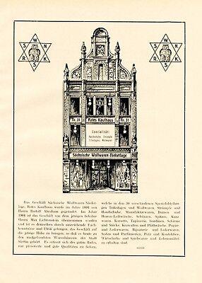 Rotes Kaufhaus Stettin Reklame 1924 Abraham & Lichtenstein Davidstern Judaika +