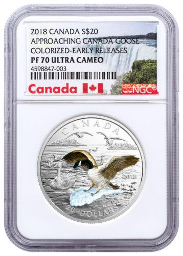 2018 Canada Approaching Canadian Goose 1 oz Silver 3D NGC PF70 UC ER SKU49551