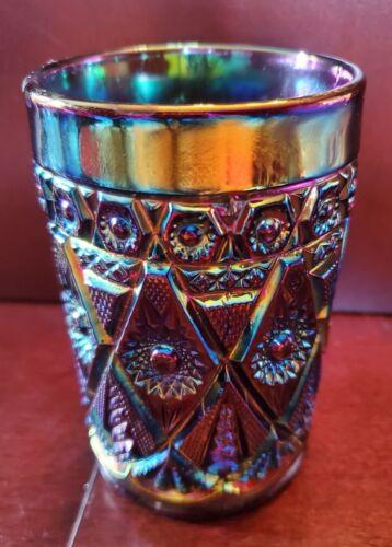 Carnival Glass Imperial ELECTRIC AMETHYST Purple Diamond Lace Tumbler BEAUTIFUL