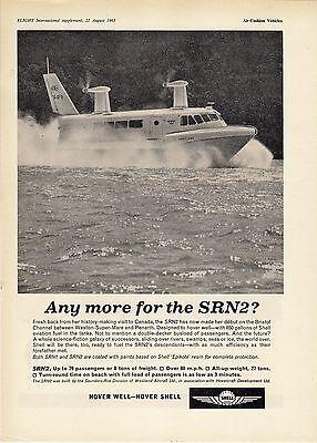 Old Magazine Advert ~ Hover Shell - Westland Saunders Roe SRN2 Hovercraft: 1963