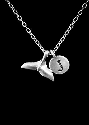 Whale Tail Necklace Mermaid Dolphin Gift Initial Nautical Beach Ocean - Whale Gifts