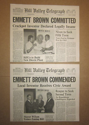 Back to the Future II - Doc Emmett Brown - Hill Valley Telegraph Prop Newspapers - Doc Back To The Future