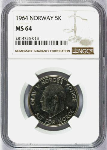 1964 Norway 5 Five Kroner Coin - NGC MS 64 - KM# 412