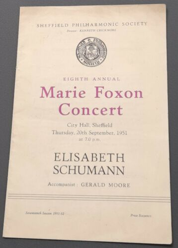 1951 City Hall Sheffield Recital Prog Elisabeth Schumann Soprano Gerald Moore