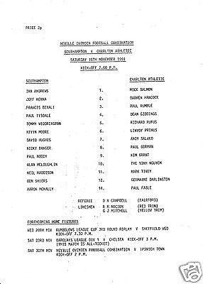 SOUTHAMPTON V CHARLTON ATHLETIC RESERVES COMBINATION 16/11/91
