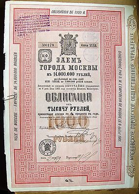 Russian 1000 Rubles Bond. 4% Loan of Moscow, 1901.