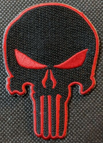 Red and Black Skull Punisher Skull Embroidered Biker Patch