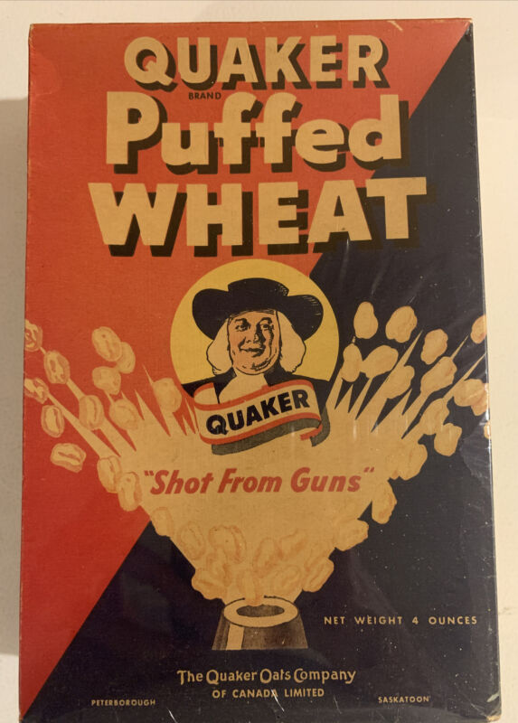 1940's Vintage Quaker Puffed Wheat 4 Ounce Box Unopened Cereal Full