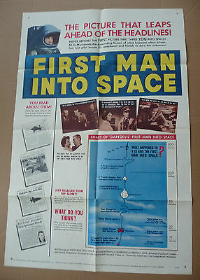 """FIRST MAN INTO SPACE"" 1959 Original 27"" x 41"" 1-sheet movie poster sci-fi 59/78"