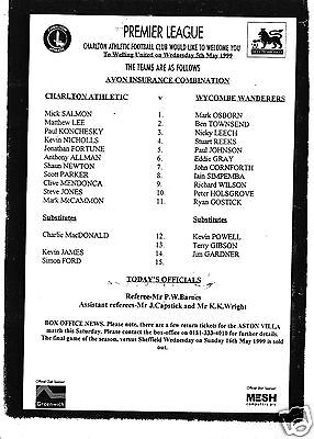 CHARLTON ATHLETIC RESERVES V WYCOMBE WANDERERS  COMBINATION LEAGUE    5/5/99