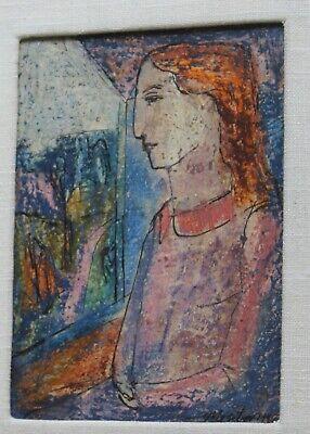 MID CENTURY MODERN ART Framed 1948 HUGH MESIBOV Listed Artist SEATED WOMAN
