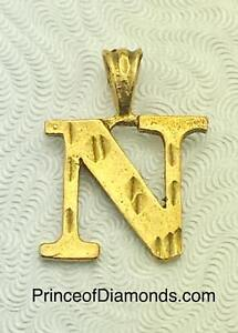 Gold plated Initial letter N pendant charm