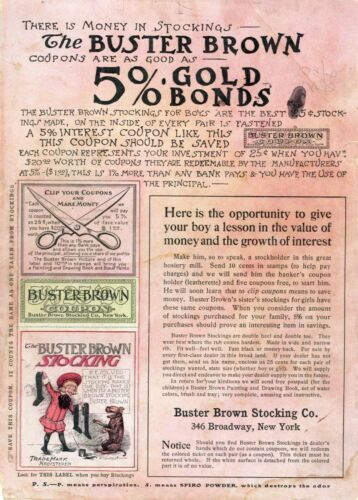 Buster Brown Stocking Co.  -  Buster Brown 5% Gold Bonds  -  Circa 1905