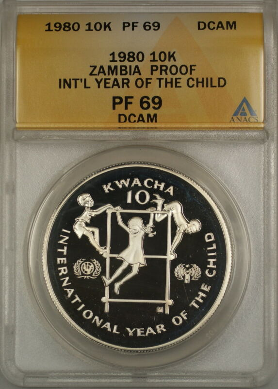 1980 Year of the Child Proof Zambia 10K Kwacha Silver Coin ANACS PF-69 DCAM