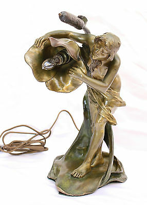 MAGNIFICENT ART NOUVEAU 19C BRONZE LAMP BY LUIS DOMENECH  & FOUNDRY  HALLMARK
