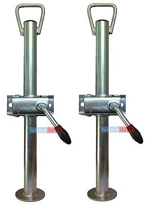 A pair of trailer prop stands with handles and split clamps 34mm dia X 450mm