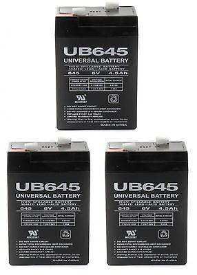 Universal Power Group 3pk Upg 6volt 4.5ah Rechargeable Ga...