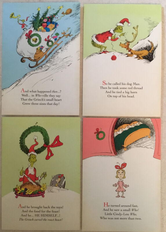 Dr. Suess Grinch Christmas Card Assortment 12 Count
