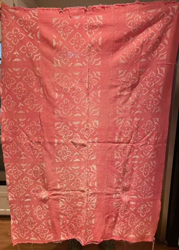 "Authentic African Handwoven Pink Mud Cloth Fabric 60"" by 44"" Mali"