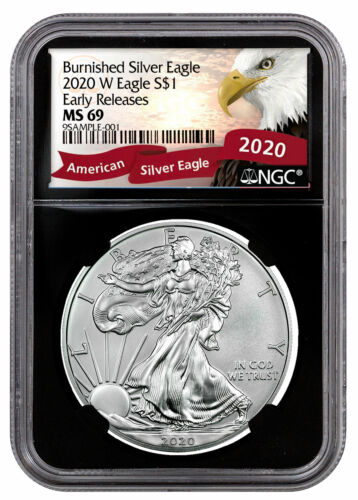 2020 W 1 oz Burnished American Silver Eagle $1 Coin NGC MS69 ER BC PRESALE