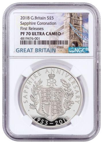 2018 Great Britain Sapphire Coronation Silver £5 NGC PF70 UC FR W/Box SKU54202