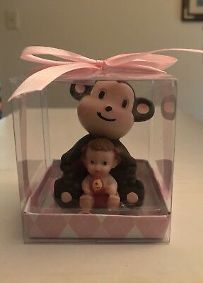 1PC Baby Shower Cake Topper Figurines Girl With Monkey. Pink - Girl Monkey Baby Shower