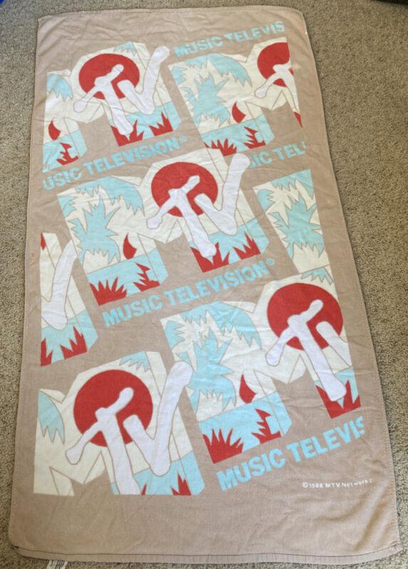 "Vintage 1988 MTV Beach Towel 52""x28"""