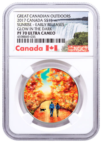 2017 Canada Outdoors Walk Sunrise 3/4oz Silver Glow Dark NGC PF70 UC ER SKU49422