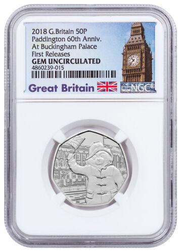2018 Paddington Bear Buckingham Palace Cupronickel 50p NGC GEM Unc FR SKU54493