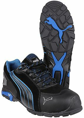 Puma Rio Black/Blue Low Safety Mens Industrial Work Boots Trainers Shoes UK6-13