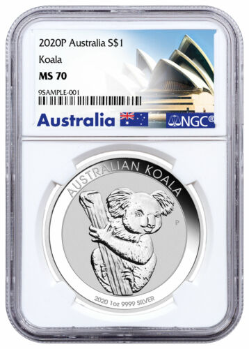 2020 P Australia 1 oz Silver Koala $1 Coin NGC MS70 Opera House Label SKU60332