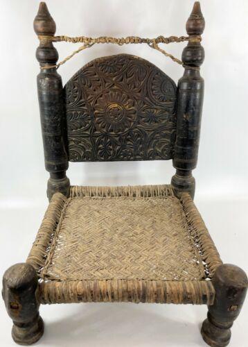 """Antique 25"""" Nuristan Afghanistan Aghan Carved Wood Priests Wedding Elder Chair"""