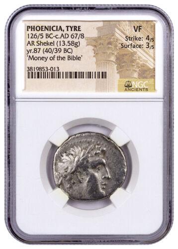Phoenicia, Tyre Silver Shekel Money of Bible Yr.87 (40/39 BC) NGC VF SKU46037