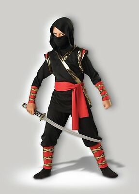 InCharacter Ninja Warrior Fighter Combat Childrens Boys Halloween Costume 17010 - Black Ninja Boy Fighter Child Halloween Costume