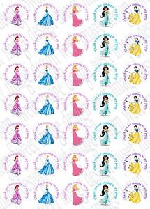35 x Disney princess inspired Labels 37mm Stickers Party bag sweet cones seals