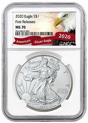 2020 1 oz American Silver Eagle $1 Coin NGC MS70 FR Exclusive Eagle Lbl SKU59466