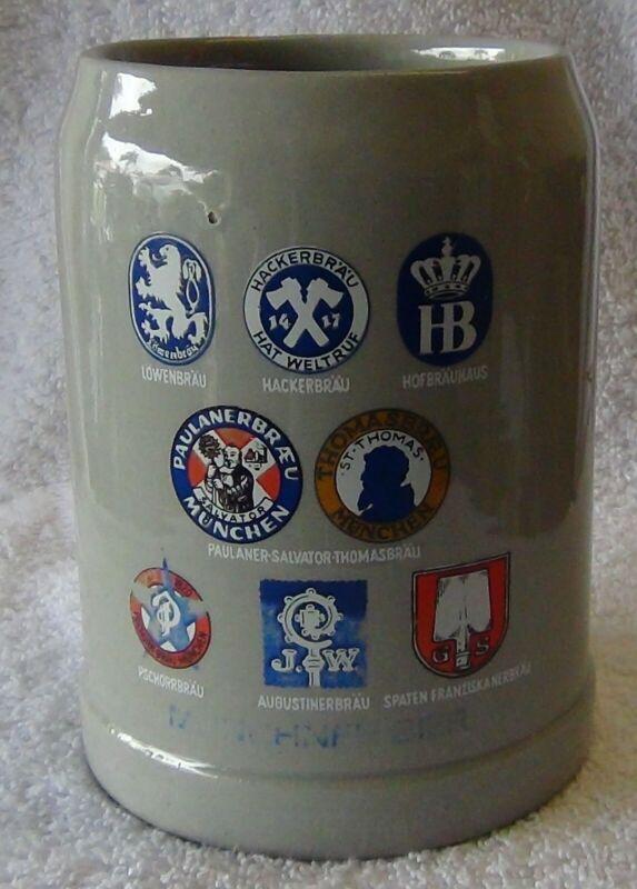Vintage German Munchen .5L  Beer Crock Stein Mug - circa 1960 - Sanahed #1079