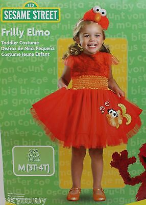 Halloween Sesame Street Red Frilly Elmo Dress Costume & headband Size 3T-4T NWT (4t Girls Halloween Costumes)