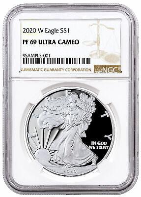 2020 W 1 oz Proof Silver American Eagle $1 Coin NGC PF69 UC PRESALE SKU59760