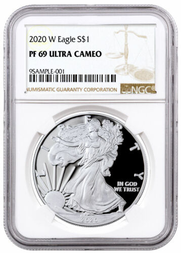 2020 W 1 oz Proof Silver American Eagle $1 Coin NGC PF69 UC SKU59760