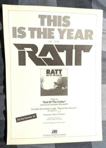 RATT / STEPHEN PEARCY / 1984 OUT OF THE CELLAR LP / ALBUM MAGAZINE PRINT AD