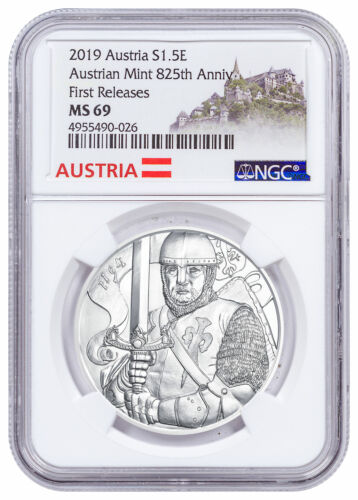 2019 Austria 1 oz Silver Leopold Coin NGC MS69 FR Austria Label SKU57610