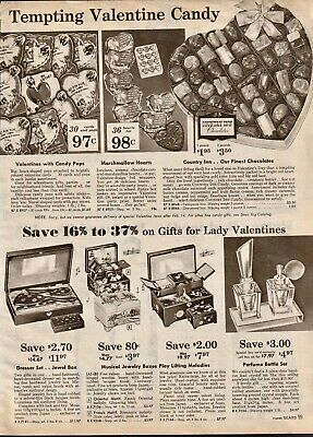1959 VTG Sears Print Ad B&W Valentine Country Inn Chocolates Jewelry 8x11 SRC 99